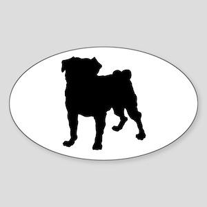 Pug Silhouette Sticker (Oval)