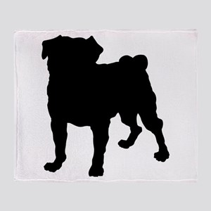 Pug Silhouette Throw Blanket