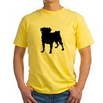 Pug Silhouette Yellow T-Shirt