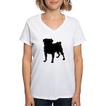 Pug Silhouette Women's V-Neck T-Shirt