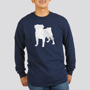 Pug Silhouette Long Sleeve Dark T-Shirt