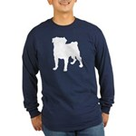 Pug Silhouette Long Sleeve Dark T-Shirt