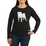 Pug Silhouette Women's Long Sleeve Dark T-Shirt