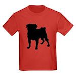 Pug Silhouette Kids Dark T-Shirt