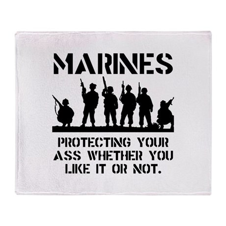 Marines Protect Throw Blanket