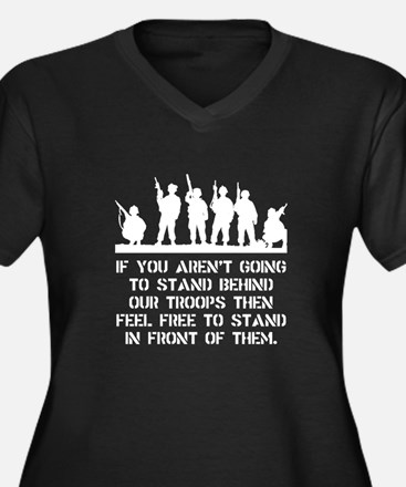 Stand Behind Troops Women's Plus Size V-Neck Dark