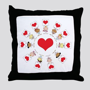 Hearts Around The World Throw Pillow