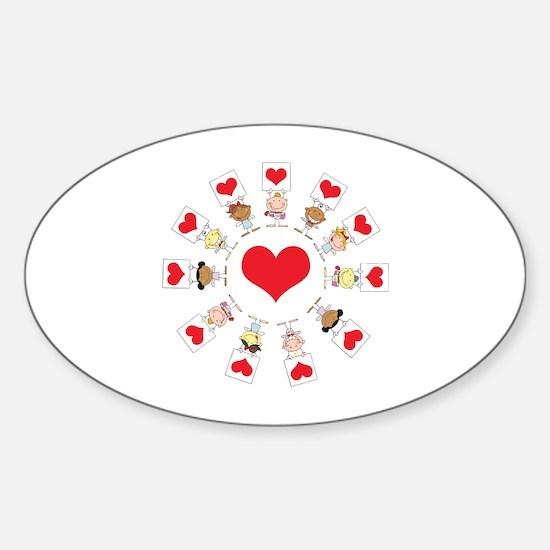 Hearts Around The World Sticker (Oval)