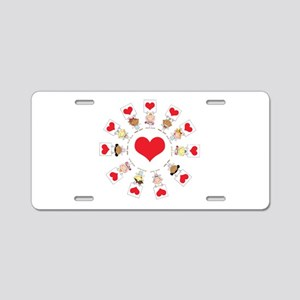 Hearts Around The World Aluminum License Plate