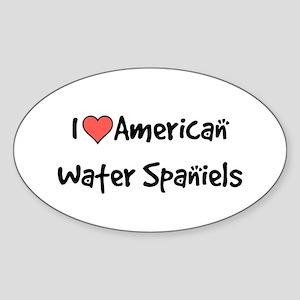 I heart American Water Spaniels Sticker (Oval)