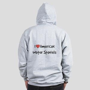 I heart American Water Spaniels Zip Hoodie