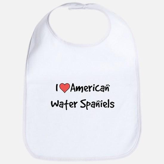 I heart American Water Spaniels Bib