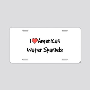 I heart American Water Spaniels Aluminum License P