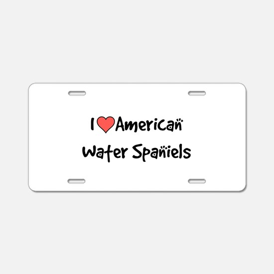 I heart American Water Spaniels Aluminum License P