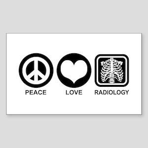 Peace Love Radiology Sticker (Rectangle)