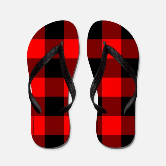 Red and Black Checkered Flip Flops