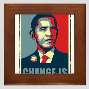 Obama - Change Is Framed Tile