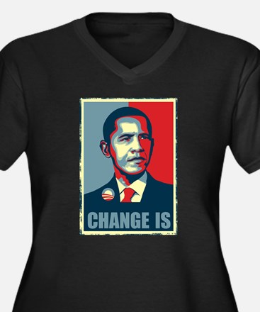 Obama - Change Is Women's Plus Size V-Neck Dark T-