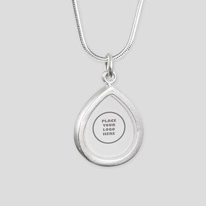 Personalized Logo Silver Teardrop Necklace