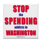 Stop Spending Tile Coaster