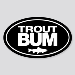 Trout Bum Oval Sticker Sticker (Oval)