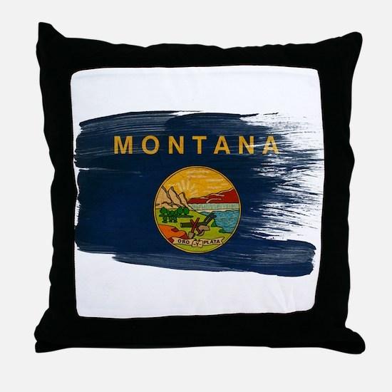 Montana Flag Throw Pillow
