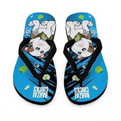 Kawaii Bazooks the Bulldog Flip Flops