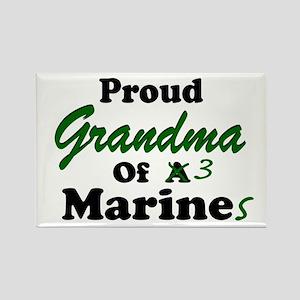 Proud Grandma 3 Marines Rectangle Magnet