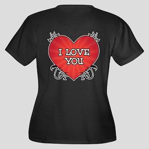 Tattoo Heart I Love You Women's Plus Size V-Neck D