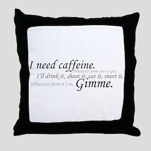 Caffeine Frenzy Throw Pillow