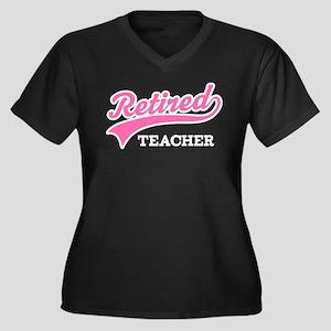Retired Teacher Gift Women's Plus Size V-Neck Dark