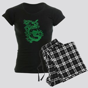 Green Chinese Dragon Women's Dark Pajamas
