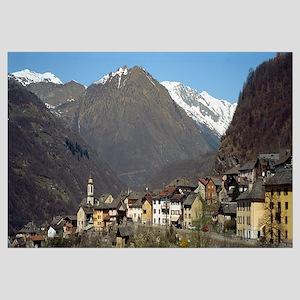 Village in a valley, Blenio Valley, Ticino, Switze