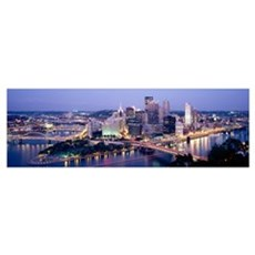 Buildings in a city lit up at dusk, Pittsburgh, Al Poster