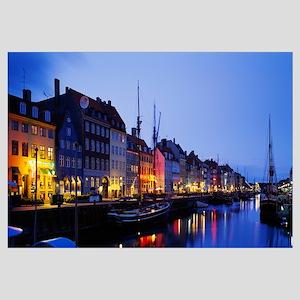 Buildings lit up at night, Nyhavn, Copenhagen, Den