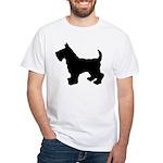 Scottish Terrier Silhouette White T-Shirt