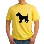 Scottish Terrier Silhouette Yellow T-Shirt