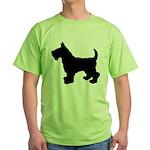 Scottish Terrier Silhouette Green T-Shirt