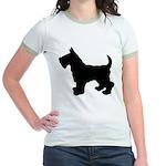 Scottish Terrier Silhouette Jr. Ringer T-Shirt
