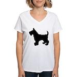 Scottish Terrier Silhouette Women's V-Neck T-Shirt