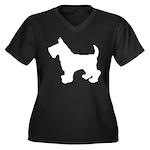 Scottish Terrier Silhouette Women's Plus Size V-Ne