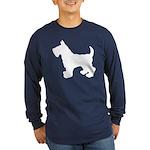 Scottish Terrier Silhouette Long Sleeve Dark T-Shi