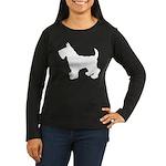 Scottish Terrier Silhouette Women's Long Sleeve Da