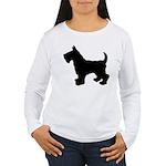 Scottish Terrier Silhouette Women's Long Sleeve T-