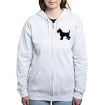 Scottish Terrier Silhouette Women's Zip Hoodie