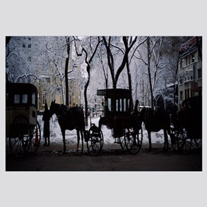 Silhouette of horse drawn carriages, Chicago, Illi