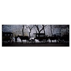 Silhouette of horse drawn carriages, Chicago, Illi Poster