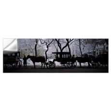 Silhouette of horse drawn carriages, Chicago, Illi Wall Decal