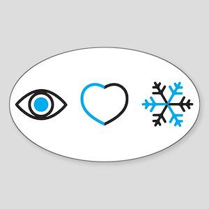 I Love Snow Sticker (Oval)