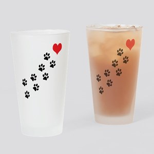 Paw Prints To My Heart Drinking Glass